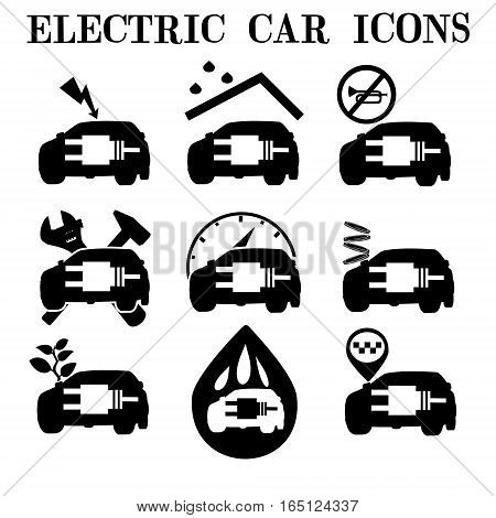 Electric car icons. Icons, maintenance and operation of the electric car economical.