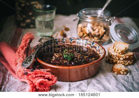 Wild Mushroom And Kidney Bean Soup