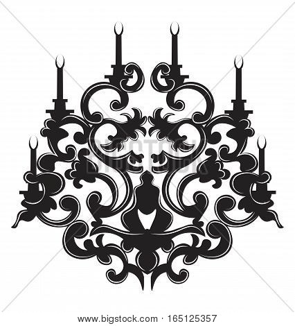 Vintage Gothic style lamp on white background. Luxury decor accessory design. Vector illustration sketch. Hermitage decorated collection