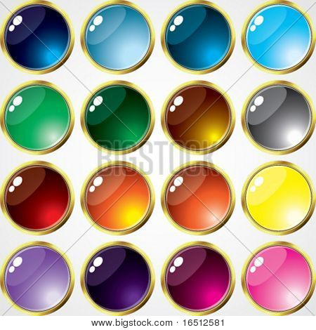 Vector  Set of buttons of Gold Frame