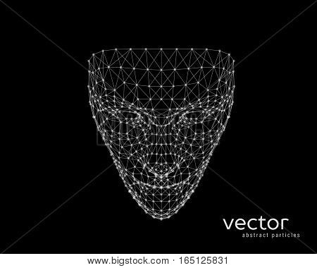 Abstract vector illustration of human face on black background.