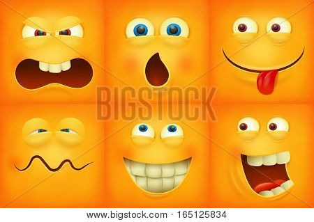 Set of emoticons yellow faces emoji characters icons vector illustration.