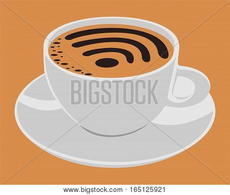 Cup with foam sign wi-fi. The file has four layers: background, saucer, cup, coffee.
