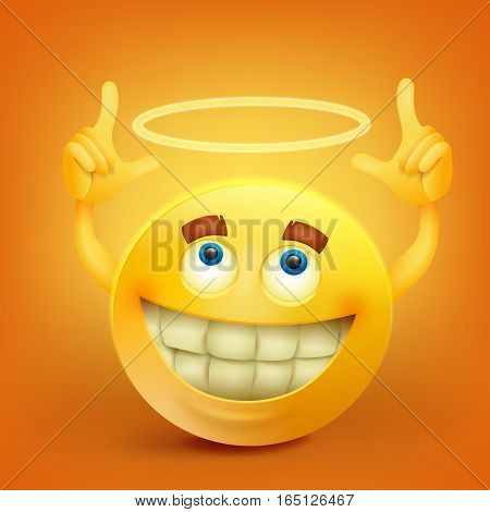 Yellow smiley face character with nimbus Vector illustration
