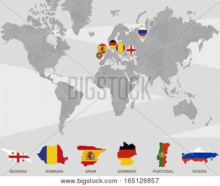 World map with Georgia, Romania, Spain, Germany, Portugal, Russia pointers. Vector Illustration.