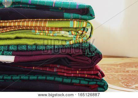 Craftsmanship Textiles silk folk art in Thai pattern