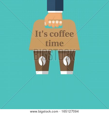 Coffee holder. To go break time. Businessman holding takeaway coffee cups. Vector illustration flat design. Isolated on background. Paper disposable box, container for food and drink.