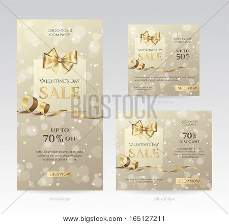 Set of elegant sale banners of different sizes for Valentine's day celebration with shopping bag, golden bow and ribbon. Template for discount offer. Vector background with hearts, effect bokeh.