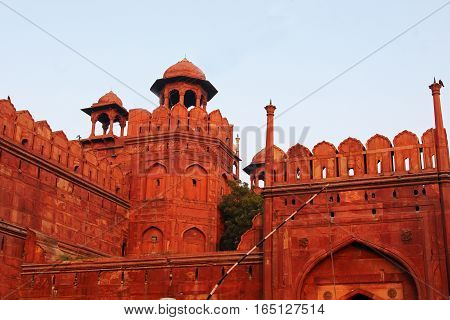 A historical buliding of Red Fort wall Delhi India