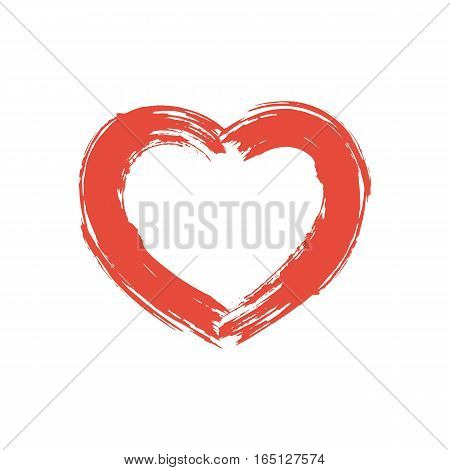 Drawing a heart. Red paint, grunge stroke. Symbol of love. Element designs for web, greeting cards for Valentine's Day. Painted with a brush. Vector illustration. Isolated on white background.