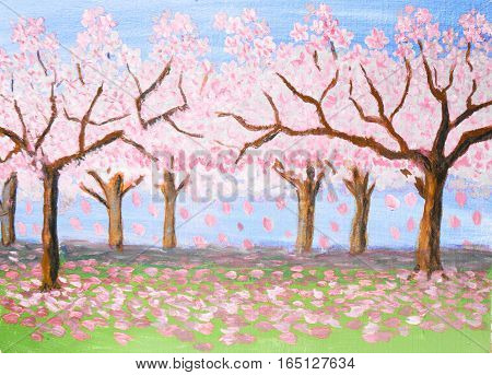 Spring landscape, garden in blossom, trees with pink flowers, oil painting.
