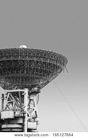 huge satellite dish. monochrome technology. Black and white