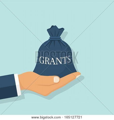 Grant funding, business concept. Vector illustration flat design. Isolated on background. Businessman holding a bag of money in hand for financial support on training, treatment. Financing.