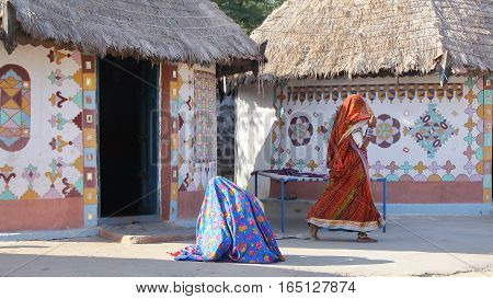 GUJARAT, INDIA: Traditional houses (Bhungas) in a local village near Bhuj