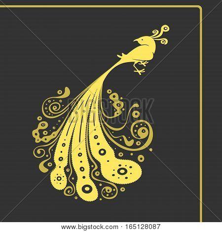 Symbol Big Bird with Tail Pattern Vector Illustration