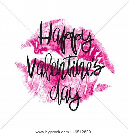 Romantic poster with lettering and lipstick imprint. Black handwritten phrase Happy Valentines Day and pink lip kiss isolated on white. Vector Decorative illustration for greeting card or wedding