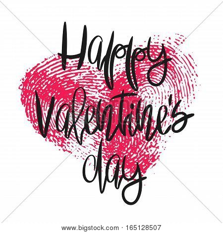 Romantic poster with hand lettering and fingerprint heart. Black handwritten phrase Happy Valentines Day and pink thumbprint isolated on white. Vector Decorative illustration for greeting card