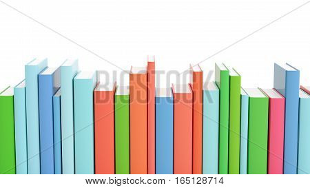 Set of colorful books standing in a row on white isolated background 3d render.
