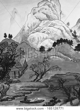 Hand drawn picture, watercolors, in traditions of Chinese painting - hills, river and houses.