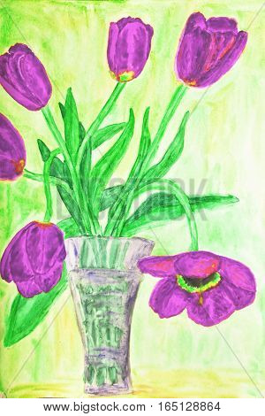 Hand painted picture, watercolours, vase with pink tulips