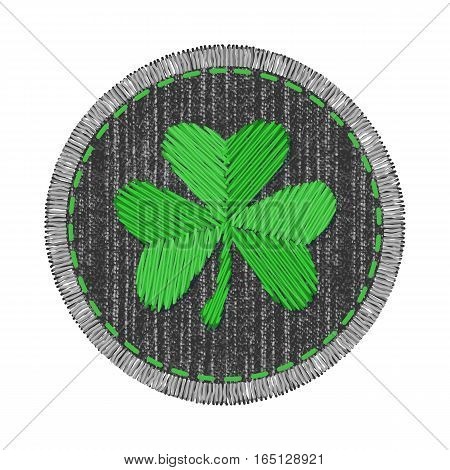 Black round denim patch with green shamrock embroidery, stitch and fringe. Jeans fabric with Irish symbol of Saint Patricks Day.