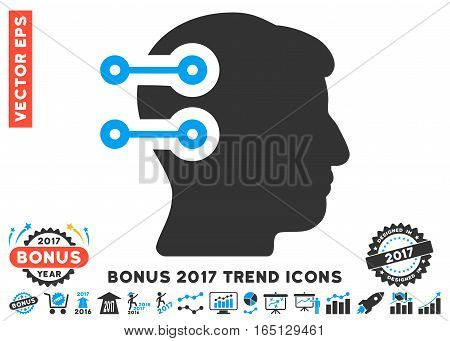 Blue And Gray Head Connectors icon with bonus 2017 trend images. Vector illustration style is flat iconic bicolor symbols white background.
