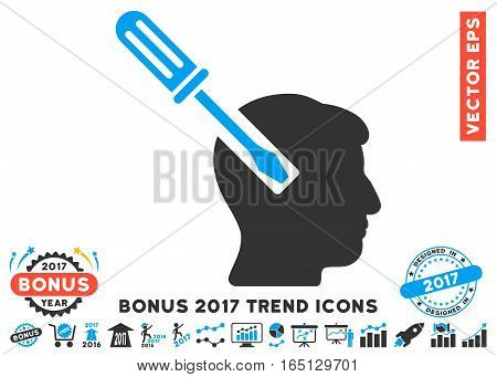 Blue And Gray Head Screwdriver Tuning icon with bonus 2017 year trend images. Vector illustration style is flat iconic bicolor symbols white background.