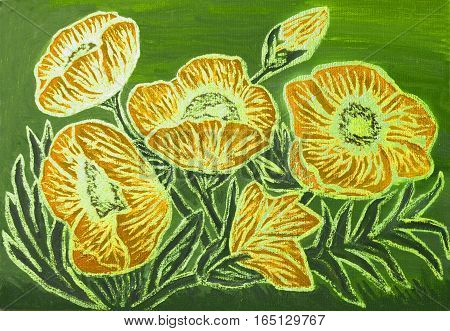 Orange poppies with golden lines on green background, oil painting with golden gouache, luminescent paint with shining glossy effect.