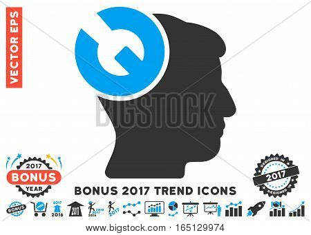 Blue And Gray Head Surgery Wrench pictogram with bonus 2017 trend clip art. Vector illustration style is flat iconic bicolor symbols white background.