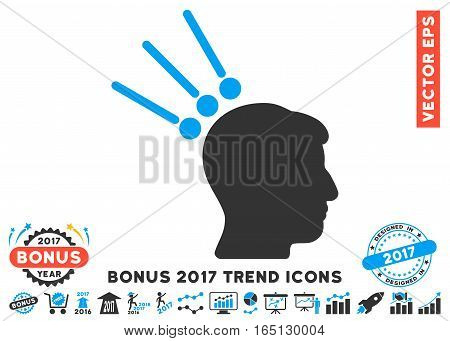 Blue And Gray Head Test Connectors pictograph with bonus 2017 trend images. Vector illustration style is flat iconic bicolor symbols white background.