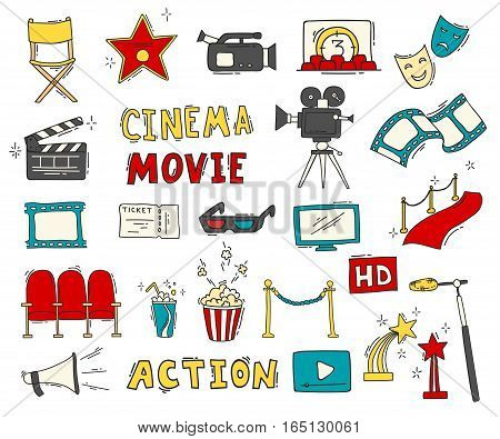Cinema hand drawn colorful icons isolated. Set with clapperboard, camera, chairs, award, film strip, popcorn ticket and others. Vector illustration