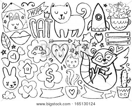 Sketch cute elements. Vector coloring page. Illustration with hearts and flowers, animals and coffee, clouds and stars. Design for prints and cards.
