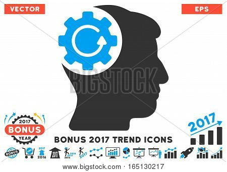 Blue And Gray Intellect Gear Rotation pictograph with bonus 2017 trend design elements. Vector illustration style is flat iconic bicolor symbols white background.