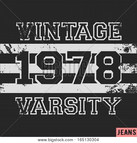 T-shirt print design. Number 1978 vintage stamp. Printing and badge applique label t-shirts, jeans, casual wear. Vector illustration.