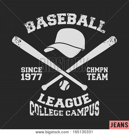 T-shirt print design. Baseball vintage stamp. Printing and badge applique label t-shirts, jeans, casual wear. Vector illustration.