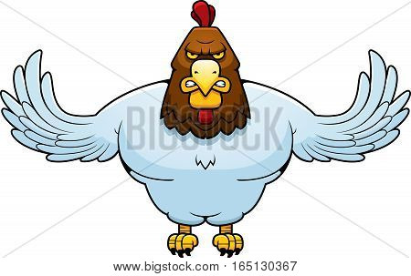Cartoon Muscular Rooster