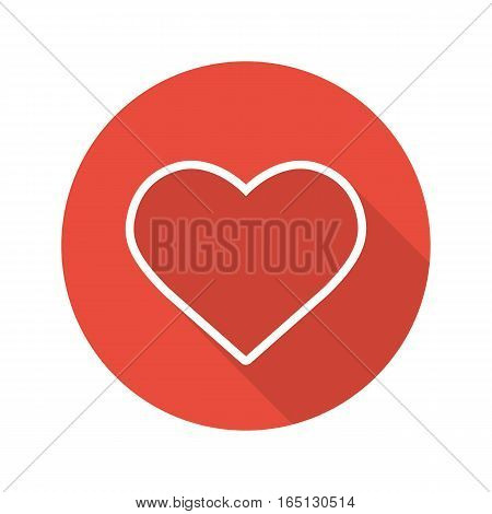 Heart flat linear long shadow icon. Love and Valentine's Day sign. Vector line symbol