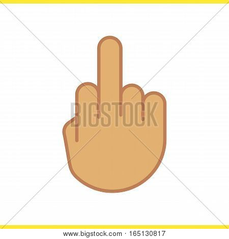 Middle finger up color icon. Flipping hand gesture. Isolated vector illustration
