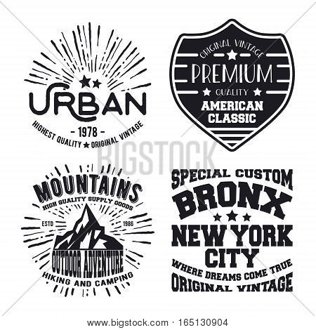 T-shirt print design. Set of vintage stamp. Printing and badge applique label t-shirts, jeans, casual wear. Vector illustration.