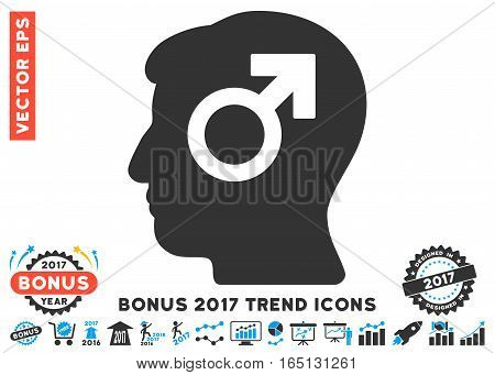 Blue And Gray Mind Potency pictograph with bonus 2017 year trend clip art. Vector illustration style is flat iconic bicolor symbols white background.