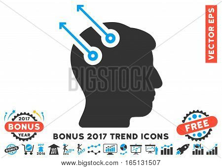 Blue And Gray Neural Interface Plugs pictogram with bonus 2017 trend pictograms. Vector illustration style is flat iconic bicolor symbols white background.