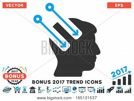Blue And Gray Neural Interface icon with bonus 2017 year trend pictures. Vector illustration style is flat iconic bicolor symbols white background.