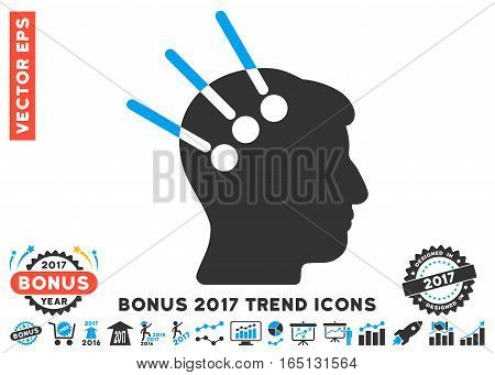 Blue And Gray Neural Interface pictograph with bonus 2017 trend icon set. Vector illustration style is flat iconic bicolor symbols white background.