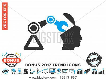 Blue And Gray Open Head Surgery Manipulator pictogram with bonus 2017 year trend symbols. Vector illustration style is flat iconic bicolor symbols white background.