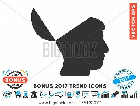 Blue And Gray Open Mind icon with bonus 2017 trend icon set. Vector illustration style is flat iconic bicolor symbols white background.