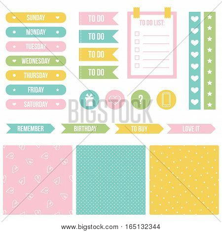 Set, collection of cute printable stickers for planner, organizer, calendar.
