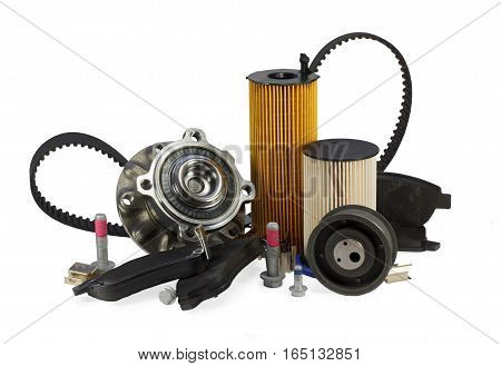 Parts for cars on a white background.