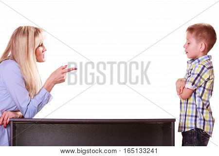 Mother and son sit at table and argue discuss solve problem.