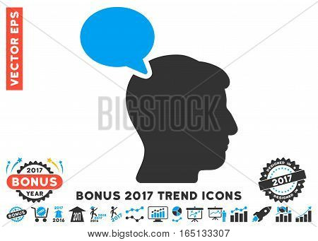 Blue And Gray Person Opinion icon with bonus 2017 year trend images. Vector illustration style is flat iconic bicolor symbols white background.