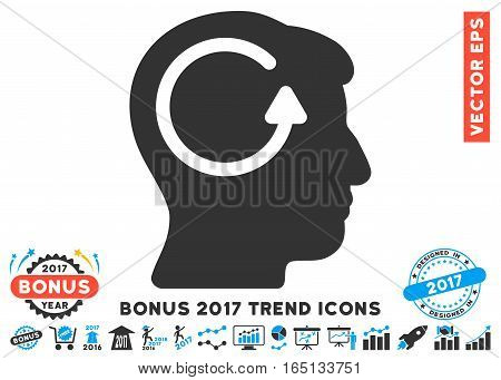 Blue And Gray Refresh Head Memory icon with bonus 2017 trend symbols. Vector illustration style is flat iconic bicolor symbols white background.